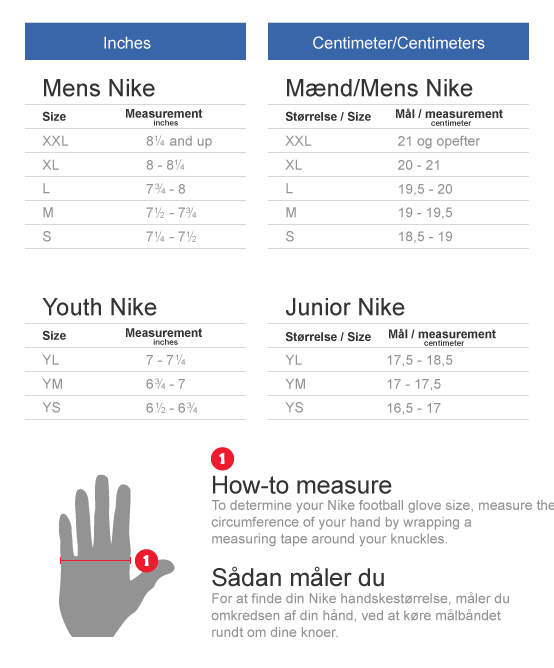 Nike football gloves size chart